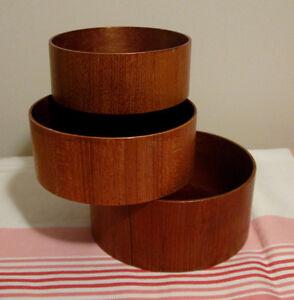 Ensemble de 3 bols à grignotines vintage en bois