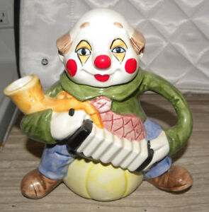 Handpainted Ceramic Clown Holding a Smoker's Pipe  Tea Pot