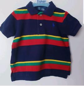 baby Boy RALPH LAUREN navy blue striped Polo T-shirt,12 Months/1 years