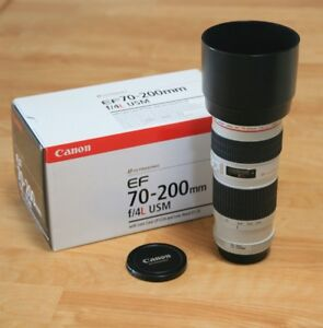 new canon EF 70 200 F4 L USM telephoto lens in box
