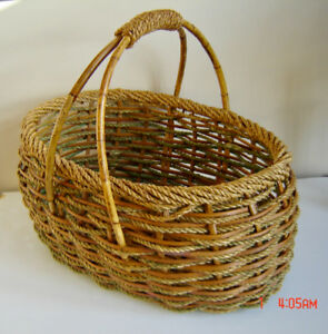 Beautiful Vintage Woven Bamboo & Rope Basket with Handles