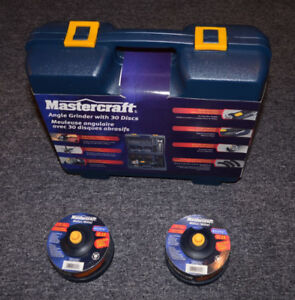 """Brand New In Box: Mastercraft 4½"""" 8A Angle Grinder Kit"""