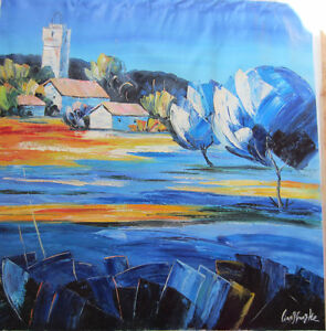 Original Abstract Oil Painting on Canvas 36x36 Blue Village Neig