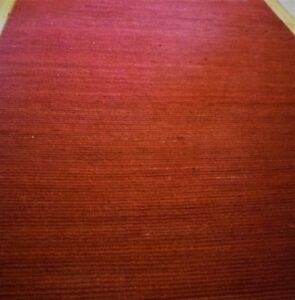 Durable, Large Jute Area Rug Hand Made Red