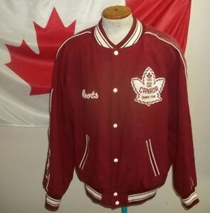 Roots Varsity jacket 2002 SLC Olympics red wool leather 2XL nice