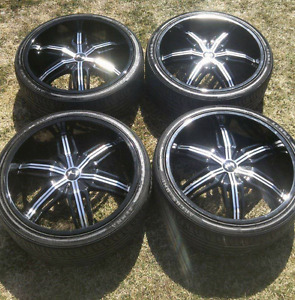 22'' deep dish rims with rubber (265/30ZR22 97W XL)