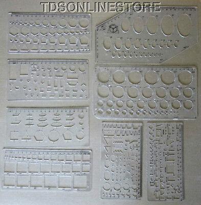 Set Of 8 Assorted Shape Template Set