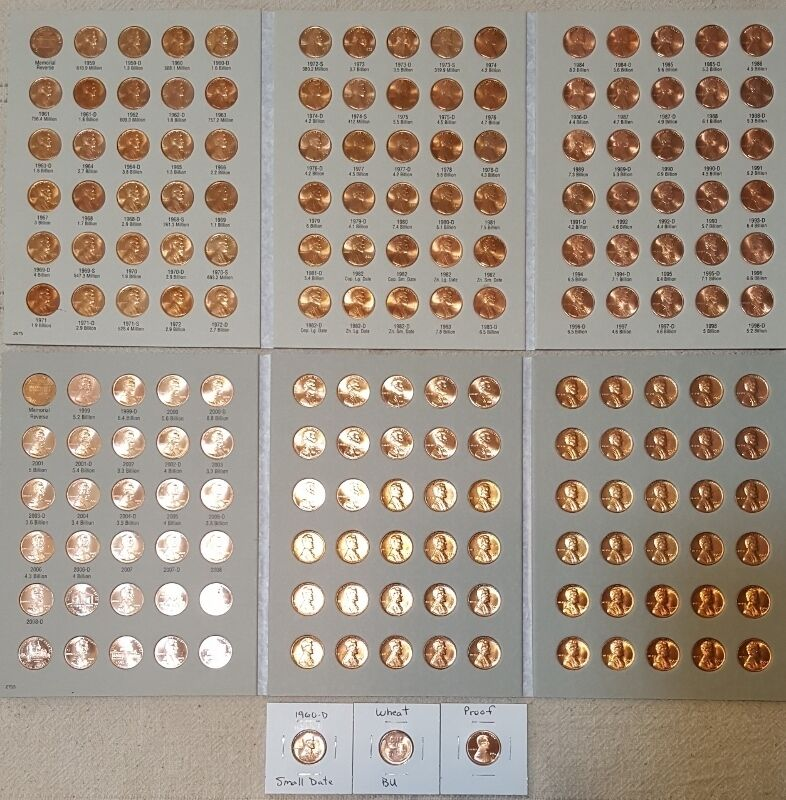 1959-2020 LINCOLN MEMORIAL CENT COLLECTION P D S + BU WHEAT PENNY & PROOF