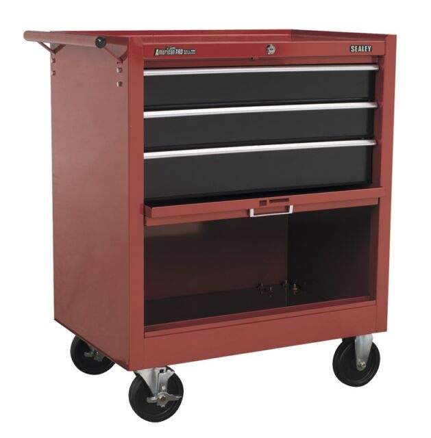 Sealey Rollcab 3 Drawer with Ball Bearing Runners Drop Front - Red/Black AP3603B