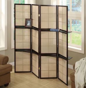 4-Panel Folding Screen with 2 Display Shelves
