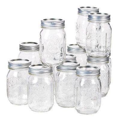 Ball Mason Jars Pint ( 16 Oz ) Regular Mouth Bands And Dome Lids 12 / Box