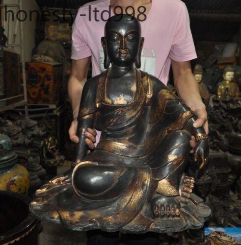 Tibet Buddhism Purple Bronze Gilt Jizo Ksitigarbha Bodhisattva Tang Monk Statue
