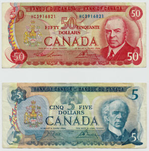 Bank of Canada $50 1975 & $5 1979 - Mountie Fifty Dollars