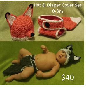 Crochet hat, diaper cover, slouchy, EOS holder, baby items London Ontario image 7
