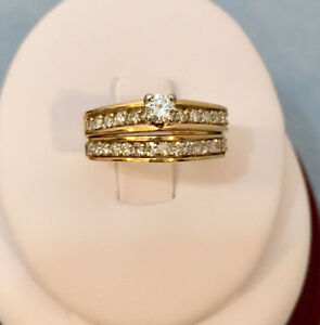 14k ladies yellow-white gold diamond wedding SET-NEW