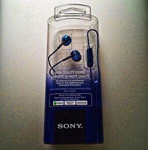 Écouteurs Sony MDR-EX110AP/L Bleu avec microphone – Neuf