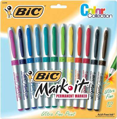 Bic Mark-it Ultra Fine Point Permanent Markers 12pkg Assorted Co 070330332904