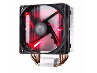 CPU HEATSINK AND FAN. COOLER MASTER HYPER 212, RED LED LIGHTS