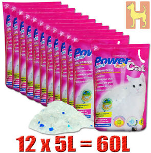 12x5= 60 lit. Power Cat Magic Silikat Katzenstreu Powercat Streu - forever clean