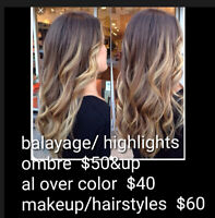 Root tuch up$25  full color$35 up highlights $60 makup/hair $35