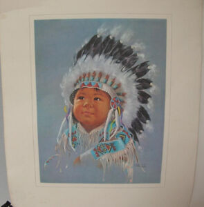FS: INDIAN CHILD LITHO PRINT by DOROTHY OXBOROUGH Little Chief