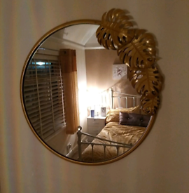 New Gold Circular Accent Wall Mirror Mostera Leaf Detail