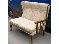 Two Seat Sofa On Wooden Frame With Removable Seat Cushions