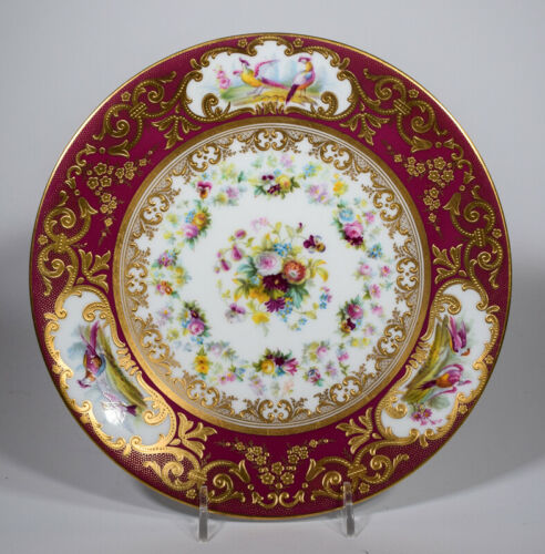 Cauldon Red Raised Paste Gold Hand Painted Game Cabinet Plate, Circa 1900