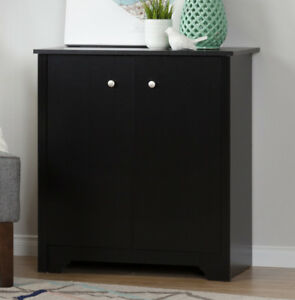 NEW: South Shore Furniture 2-Door Storage Cabinet, Pure Black