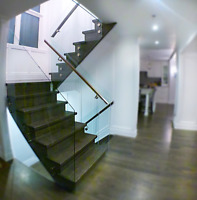Glass shower enclosure, Mirrors, glass railing, glass partitions