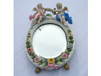 Antique Dresden Small Mirror with Stand Floral Decoration & Cherubs