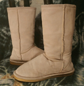 BEARPAW Tall Water Resistant Suede Sheerling Boots Womens Sz 10