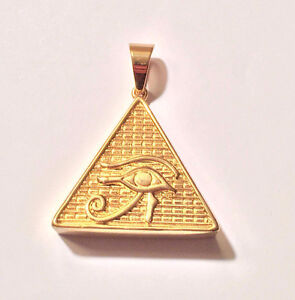 "14K Gold Plated Eye Of Horus Pendant 30"" Round Box Chain"