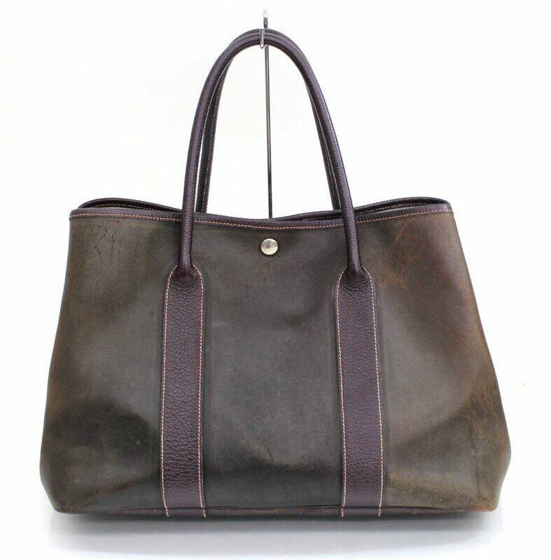 HERMES Garden Party Amazonia Leather Handbag Khaki Leather Used