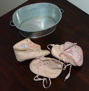 Pair Vintage Baby Boots.  Doll Tub. Kingston Kingston Area image 2