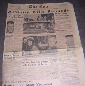 1963 NEWSPAPERS KENNEDY ASSASSINATION $10 EACH