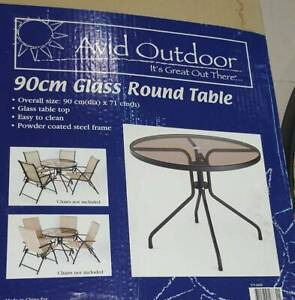 New 90 cm Round outdoor tinted glass coffee table table