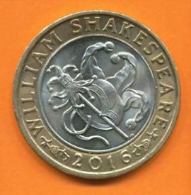 Rare 2016 £2 Pound Coin William Shakespeare / Jester.