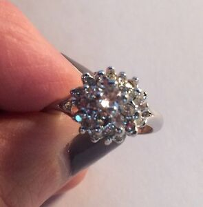 Sparkly Cubic Zirconia Cluster Ring, Stamped Silver Plate, Women