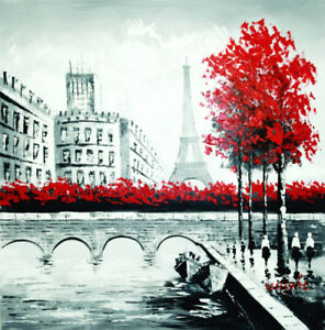 """A Walk in Paris"" Red Tree Painting Canvas Wall Art Decor Home"