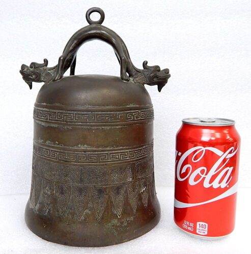 Antique Bronze Dragon Chinese Mongolian Buddhist Temple Dinner Bell Gong Qing