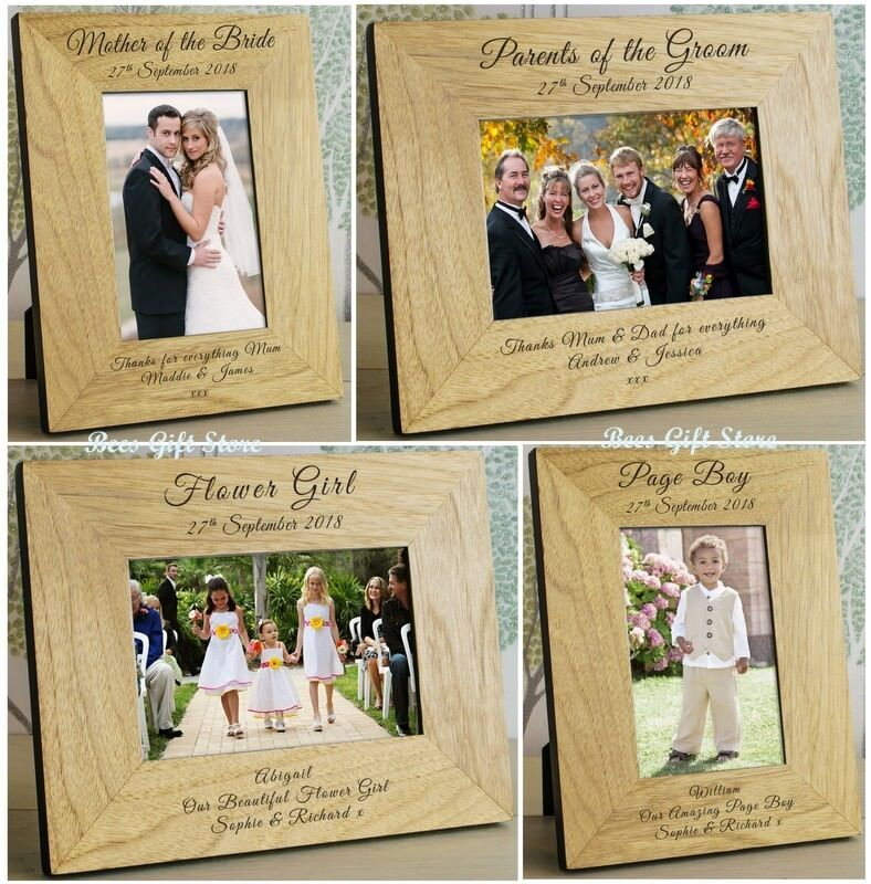 PERSONALISED WEDDING DAY Party Role Wooden PHOTO FRAME Thank