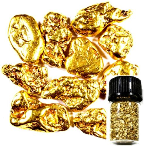 10 PIECE ALASKAN NATURAL PURE GOLD NUGGETS WITH BOTTLE FREE SHIPPING (#B252)