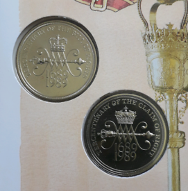 Claim of Rights + Bill of Rights £2 uncirculated coin pair in folder