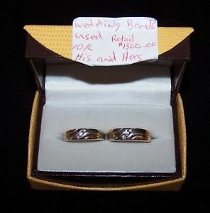 HIS & HERS WEDDING BANDS with DIAMONDS 10KT GOLD.PRE-OWNED