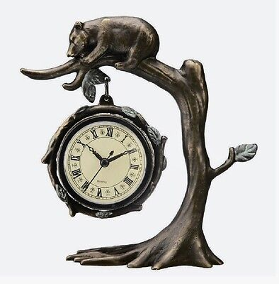 (Bear On Tree Clock Branch Desk Table Mantle Rustic Cabin Lodge Whimsical Decor)