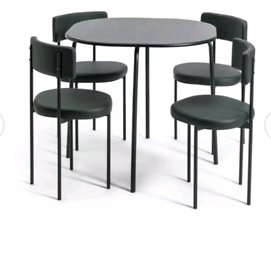 Brand new black spacesaver dining table and 4 chairs