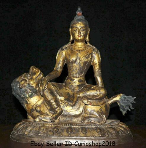 "18"" Antique Tibet Bronze Gilt Green Tara Goddess Buddha Ride Lion Beast Statue"