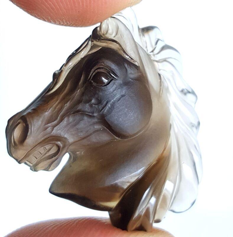 42+ carats German Carved Smokey Topaz Quartz Horse Equestrian Idar Oberstein