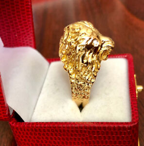 14k Gold Lion Ring with Diamond Eyes